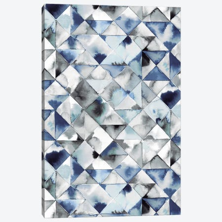 Moody Triangles Blue Silver Canvas Print #NDE73} by Ninola Design Canvas Print