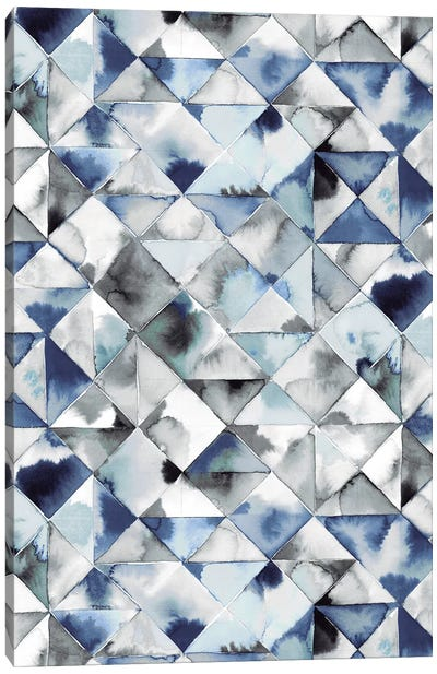 Moody Triangles Blue Silver Canvas Art Print