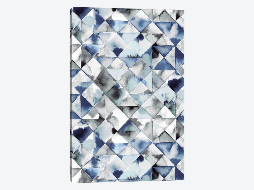 Moody Triangles Blue Silver by Ninola Design 1-piece Canvas Art Print