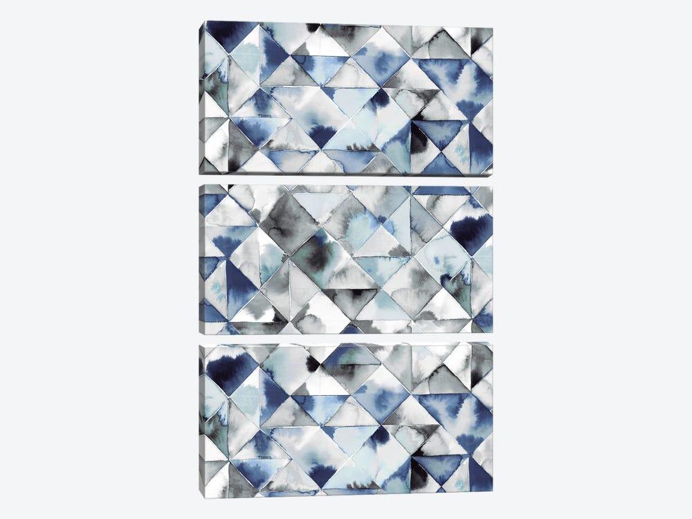 Moody Triangles Blue Silver by Ninola Design 3-piece Art Print