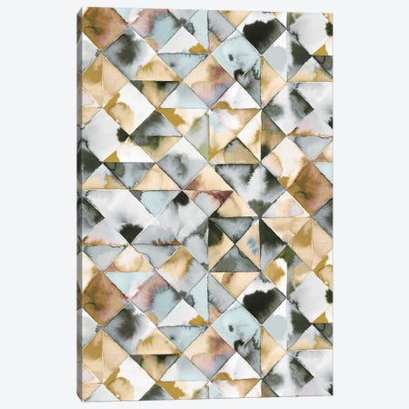 Moody Triangles Gold Silver Canvas Print #NDE74} by Ninola Design Canvas Wall Art