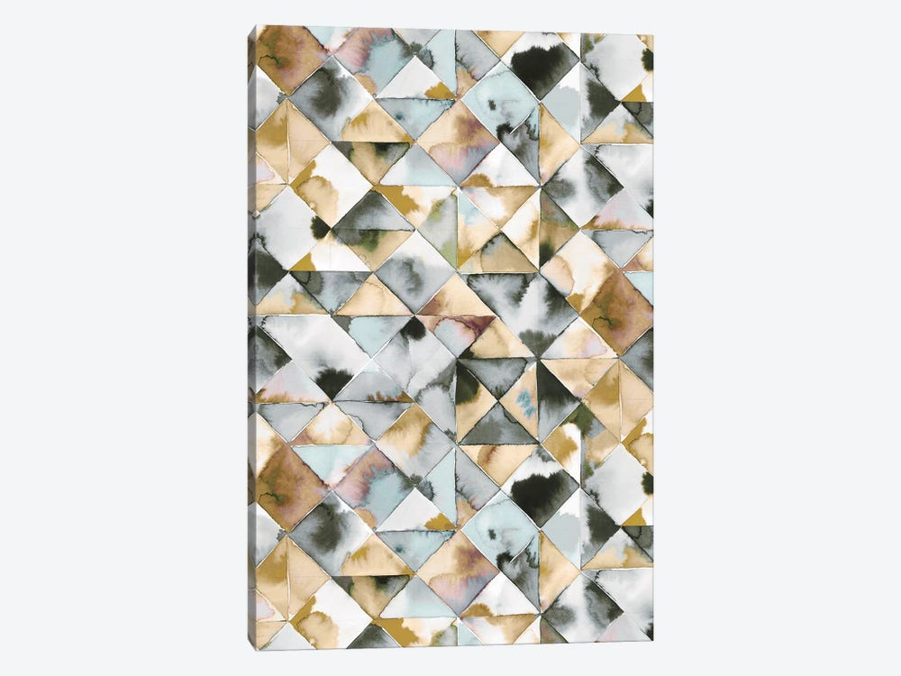 Moody Triangles Gold Silver by Ninola Design 1-piece Canvas Wall Art