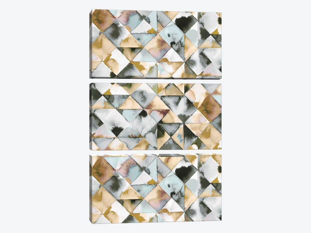 Moody Triangles Gold Silver 3-piece Canvas Artwork