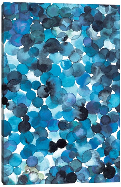 Overlapped Watercolor Dots Blue Canvas Art Print
