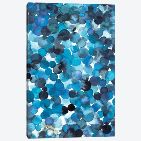Overlapped Watercolor Dots Blue Canvas Print #NDE76} by Ninola Design Canvas Artwork