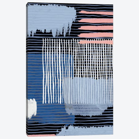 Abstract Striped Geo Navy Canvas Print #NDE7} by Ninola Design Canvas Art