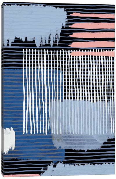 Abstract Striped Geo Navy Canvas Art Print