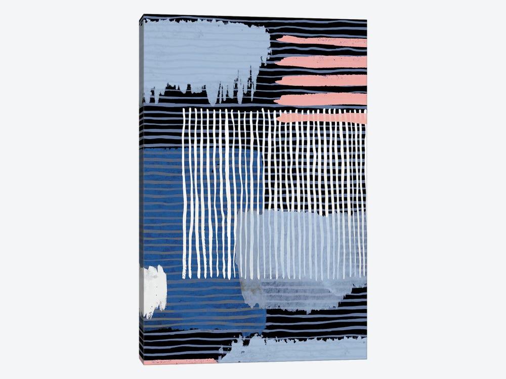 Abstract Striped Geo Navy by Ninola Design 1-piece Canvas Art Print