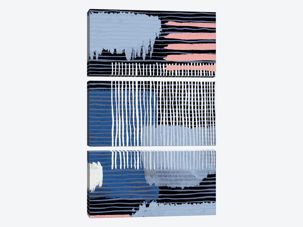 Abstract Striped Geo Navy by Ninola Design 3-piece Canvas Print
