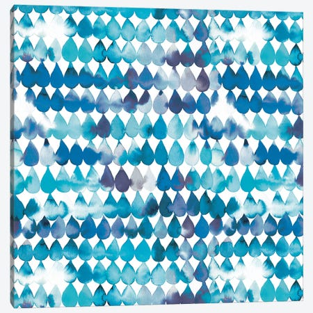 Raindrops Blue Canvas Print #NDE81} by Ninola Design Canvas Wall Art