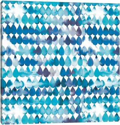 Raindrops Blue Canvas Art Print