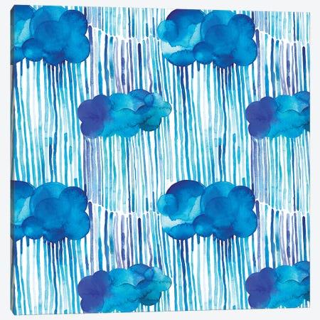Raining Clouds Blue Canvas Print #NDE82} by Ninola Design Canvas Art