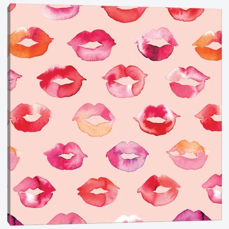 Sweet Pink Lips Canvas Print #NDE89} by Ninola Design Canvas Artwork