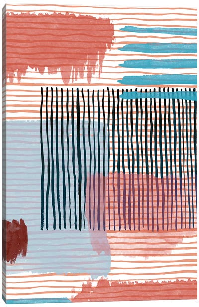 Abstract Striped Geo Red Canvas Art Print