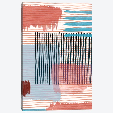 Abstract Striped Geo Red Canvas Print #NDE8} by Ninola Design Art Print