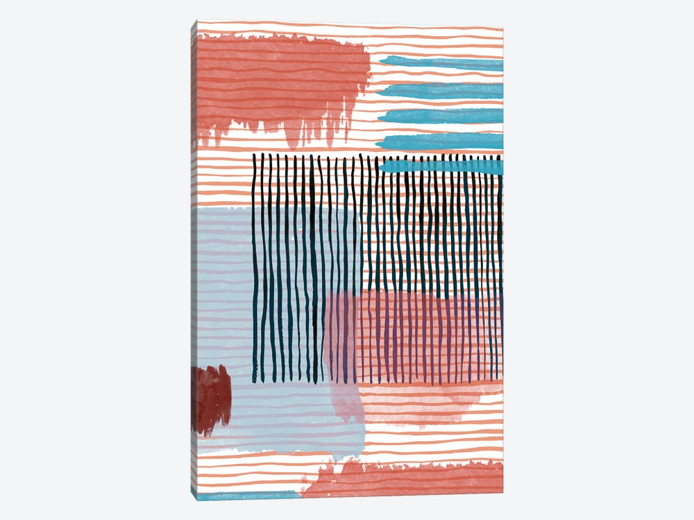 Abstract Striped Geo Red by Ninola Design 1-piece Canvas Wall Art