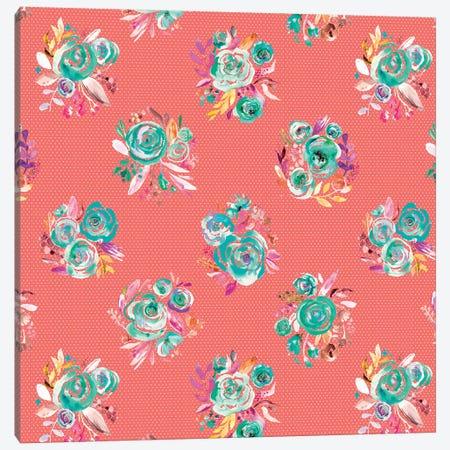 Sweet Roses Blooms Coral Canvas Print #NDE90} by Ninola Design Canvas Art Print