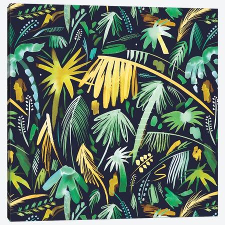 Tropical Expressive Palms Green Canvas Print #NDE93} by Ninola Design Canvas Print