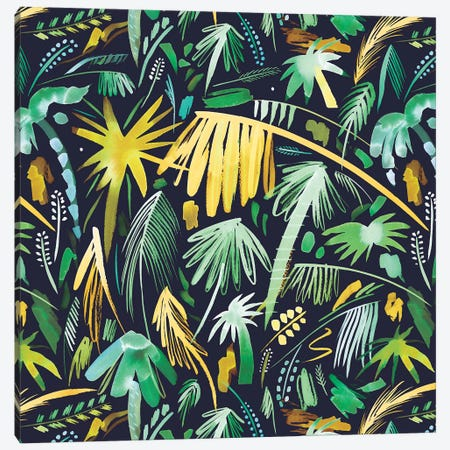 Tropical Expressive Palms Green Canvas Print #NDE93} by Ninola Design Canvas Print