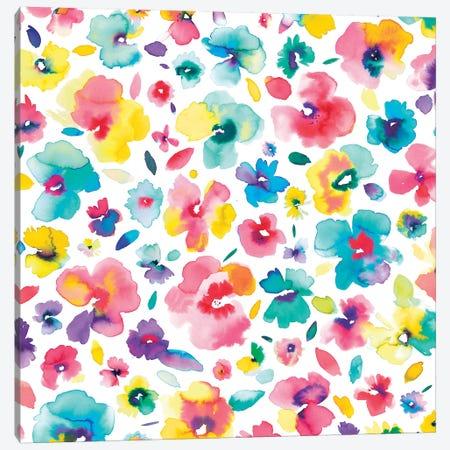 Tropical Flowers Multi Canvas Print #NDE94} by Ninola Design Canvas Artwork
