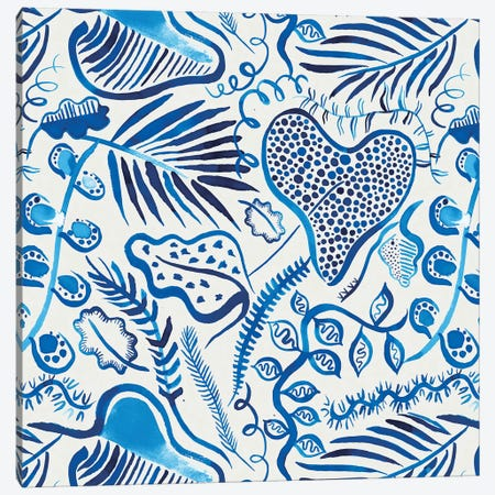 Tropical Forest Leaves Blue Canvas Print #NDE95} by Ninola Design Canvas Artwork