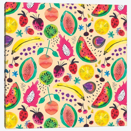 Tropical Fruits Yellow Canvas Print #NDE96} by Ninola Design Canvas Art