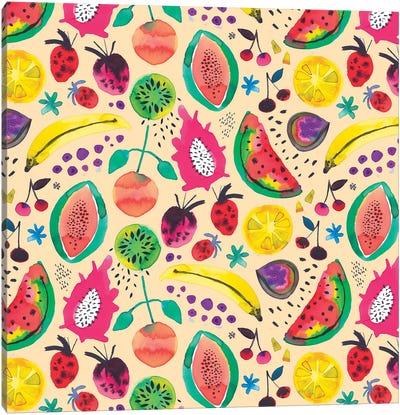 Tropical Fruits Yellow Canvas Art Print