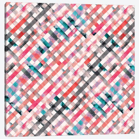 Vichy Pink Gingham Squares Watercolor Canvas Print #NDE98} by Ninola Design Art Print
