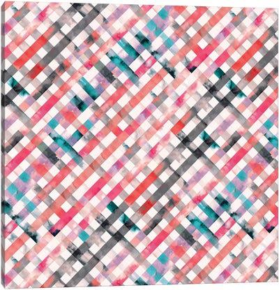 Vichy Pink Gingham Squares Watercolor Canvas Art Print