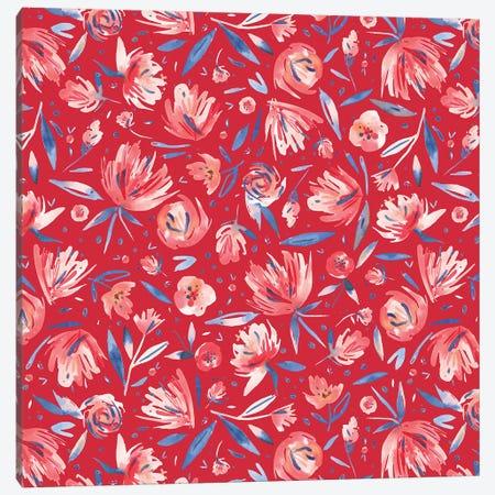 Artistic Peonies Red Canvas Print #NDE9} by Ninola Design Canvas Art Print