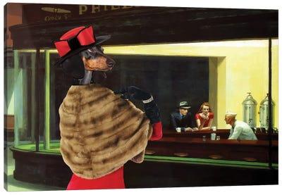 Dachshund Nighthawks Canvas Art Print