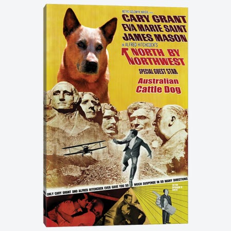 Australian Cattle Dog North By Northwest Movie Poster Canvas Print #NDG1010} by Nobility Dogs Canvas Wall Art