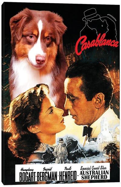 Australian Shepherd Casablanca Movie Canvas Art Print
