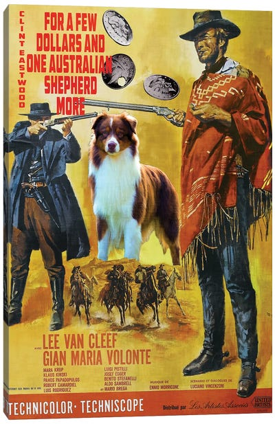 Australian Shepherd For A Few Dollars More Canvas Art Print