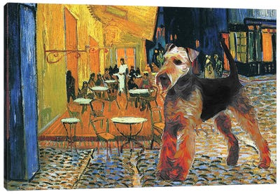 Airedale Terrier Cafe Terrace At Night Canvas Art Print