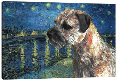 Border Terrier Starry Night Over The Rhone Canvas Art Print