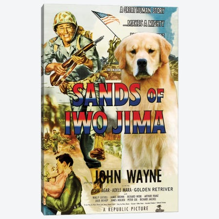 Golden Retriever Sands Of Iwo Jima Canvas Print #NDG1085} by Nobility Dogs Canvas Artwork