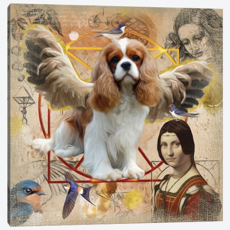 Cavalier King Charles Spaniel Angel Da Vinci Canvas Print #NDG10} by Nobility Dogs Canvas Art Print