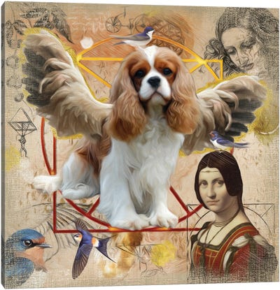 Cavalier King Charles Spaniel Angel Da Vinci Canvas Art Print