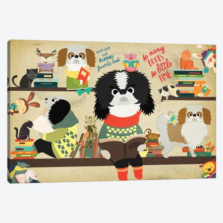 Japanese Chin Book Time Canvas Print #NDG1100} by Nobility Dogs Canvas Artwork