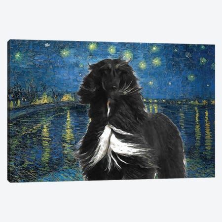 Afghan Hound Starry Night Over The Rhone Canvas Print #NDG1116} by Nobility Dogs Canvas Wall Art