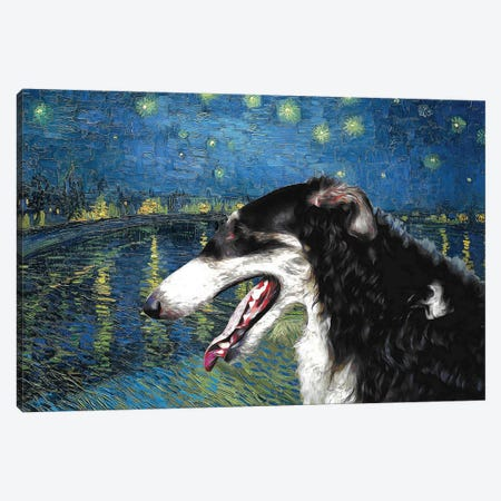 Borzoi Starry Night Over The Rhone Canvas Print #NDG1117} by Nobility Dogs Canvas Wall Art