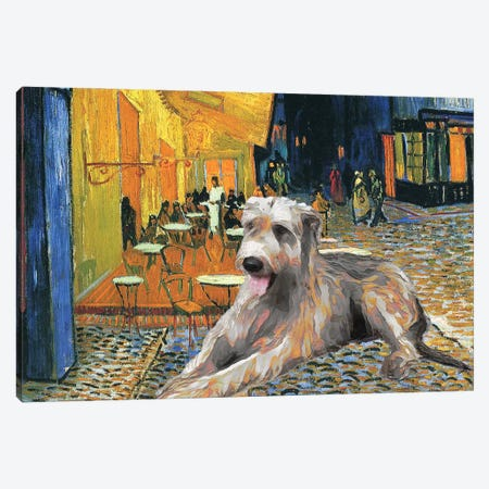Irish Wolfhound Café Terrace At Night Canvas Print #NDG1120} by Nobility Dogs Canvas Artwork