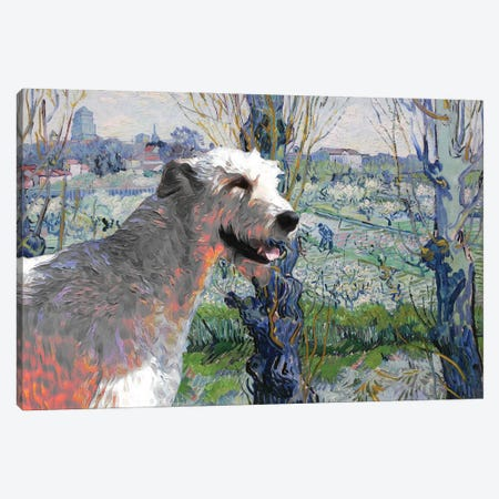 Irish Wolfhound Orchard In Blossom Canvas Print #NDG1121} by Nobility Dogs Canvas Artwork