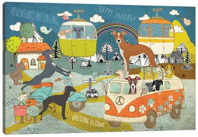 Italian Greyhound Happy Journey Canvas Art Print
