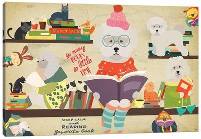 Bichon Frise Book Time Canvas Art Print