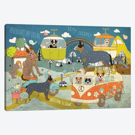 Australian Cattle Dog Happy Journey Canvas Print #NDG1127} by Nobility Dogs Art Print
