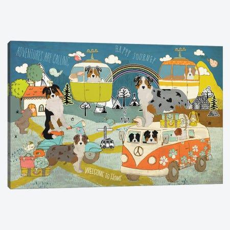 Australian Shepherd Happy Journey Canvas Print #NDG1128} by Nobility Dogs Canvas Wall Art