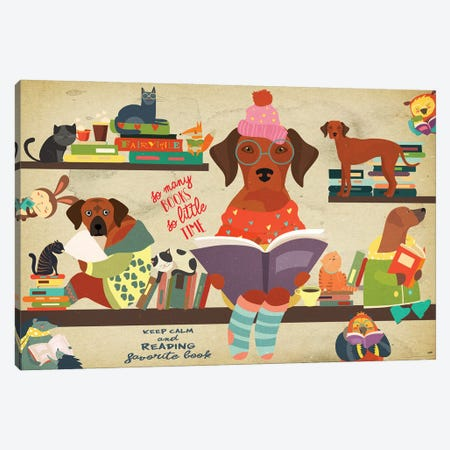 Rhodesian Ridgeback Book Time Canvas Print #NDG1130} by Nobility Dogs Canvas Art Print