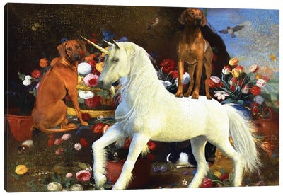 Rhodesian Ridgeback Still Life With Flowers And Unicorn Canvas Art Print